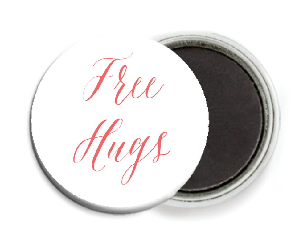 custom button magnets - deep coral - caprice (set of 6)