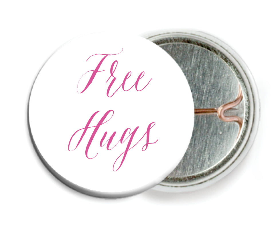 custom pin back buttons - bright pink - caprice (set of 6)