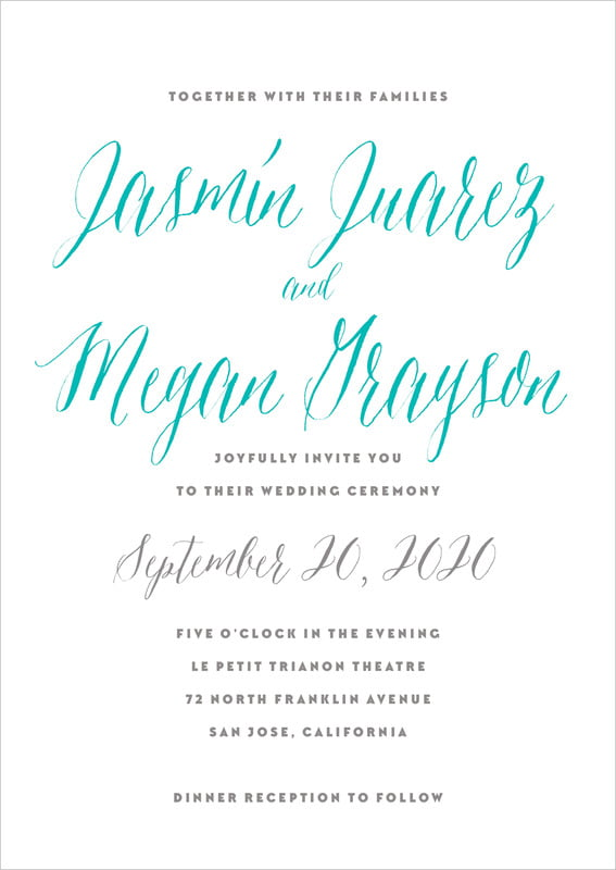 custom invitations - turquoise - caprice (set of 10)