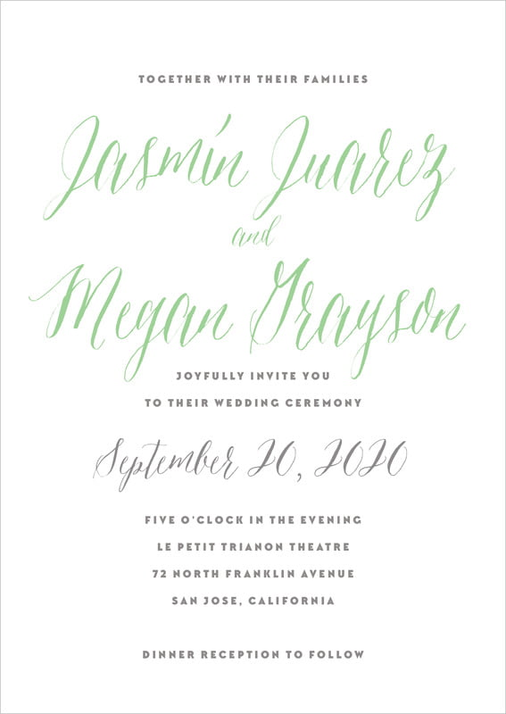 custom invitations - spring green - caprice (set of 10)