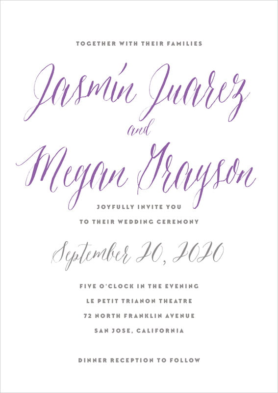 custom invitations - purple - caprice (set of 10)
