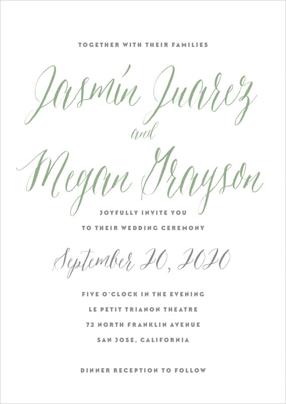 custom invitations - sage - caprice (set of 10)