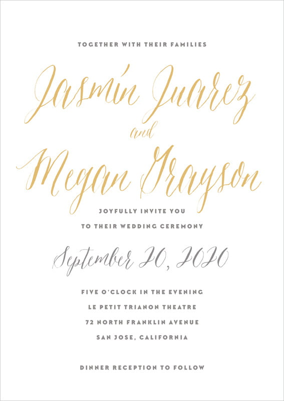 custom invitations - deep gold - caprice (set of 10)
