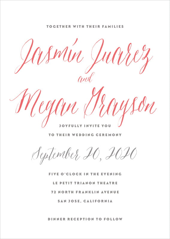 custom invitations - deep coral - caprice (set of 10)
