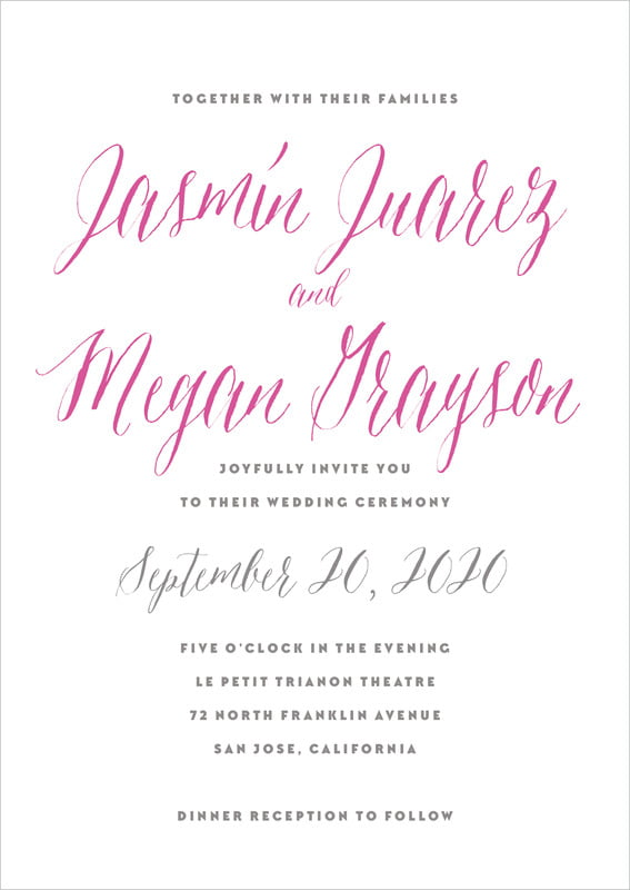 custom invitations - bright pink - caprice (set of 10)