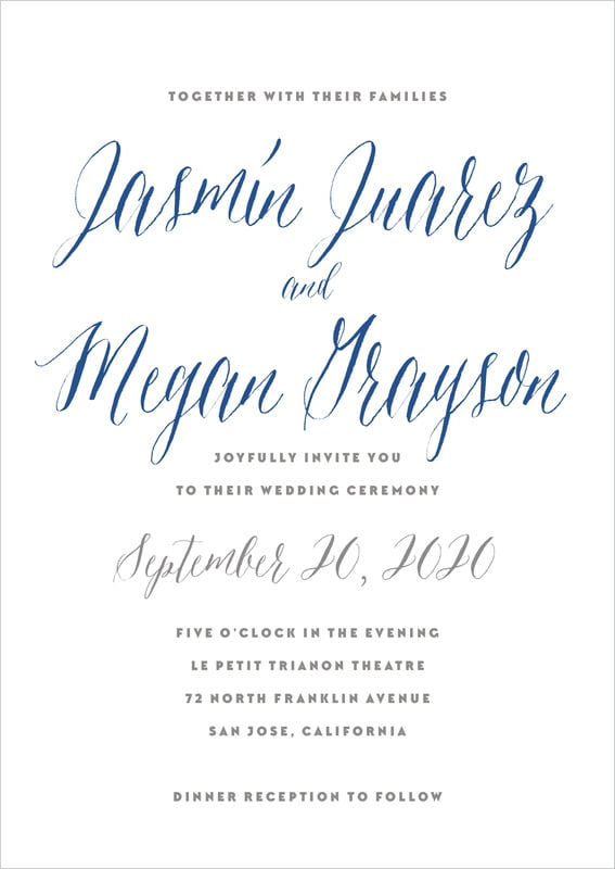 custom invitations - deep blue - caprice (set of 10)