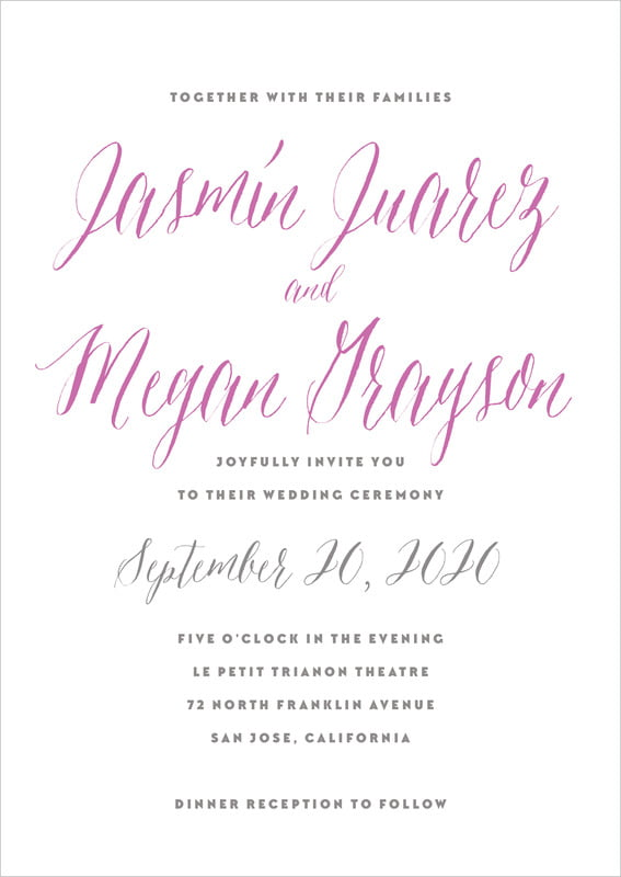 custom invitations - radiant orchid - caprice (set of 10)