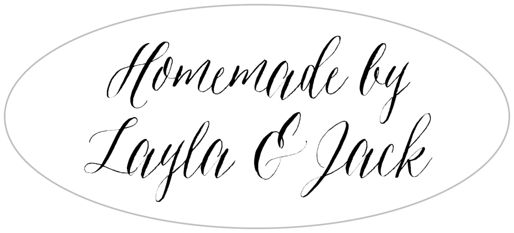 oval food/craft labels - tuxedo - caprice (set of 30)