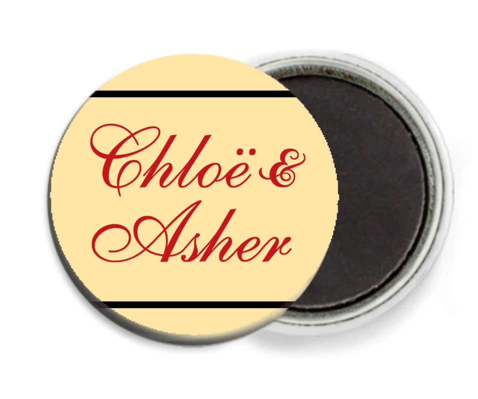 custom button magnets - gold, black & red - allegro (set of 6)
