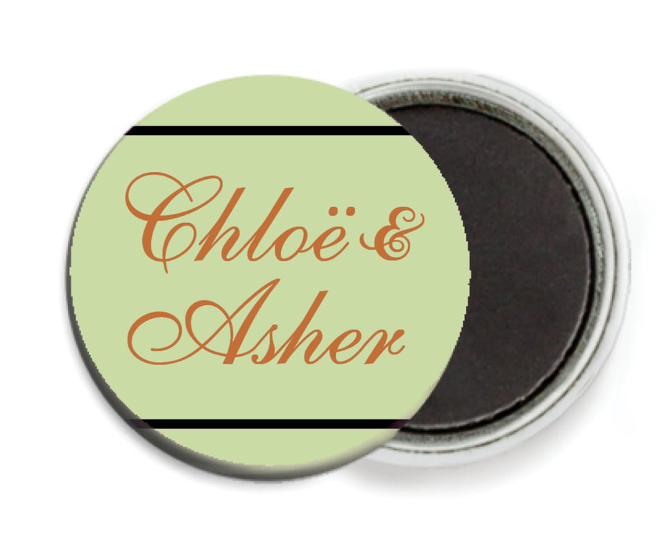 custom button magnets - green, gold & black - allegro (set of 6)
