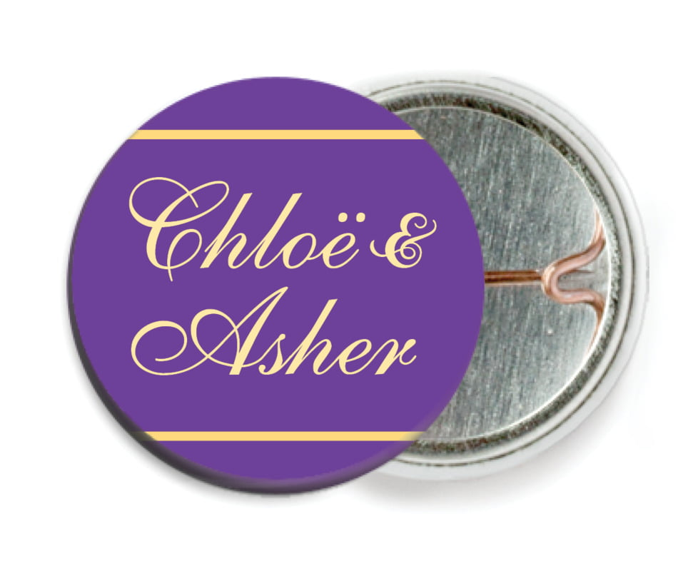 custom pin back buttons - purple - allegro (set of 6)