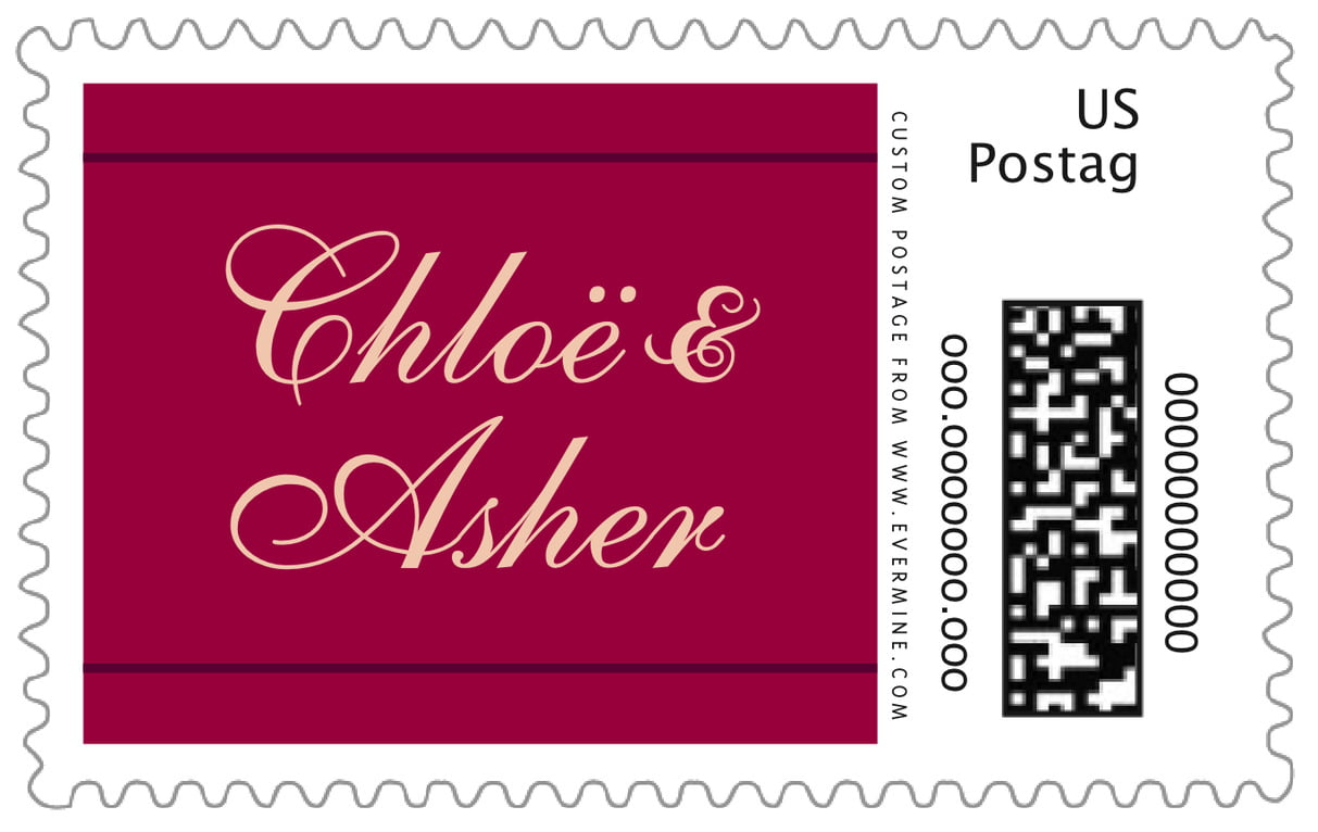 custom large postage stamps - burgundy - allegro (set of 20)
