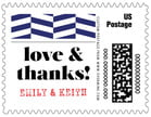 Apothecary Graphic Small Postage Stamp In Deep Blue