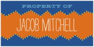 Ancho Small Bookplate In Blue & Orange