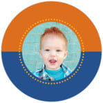 Ancho Circle Photo Label In Blue & Orange