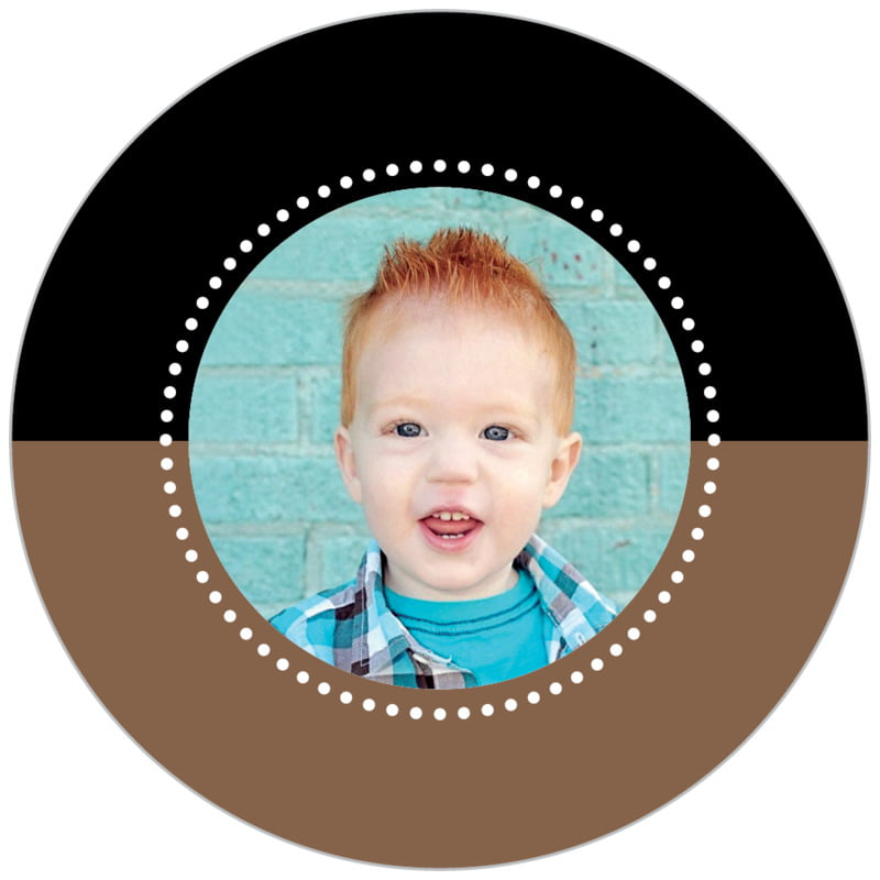 circle photo labels - saddle brown - ancho (set of 20)