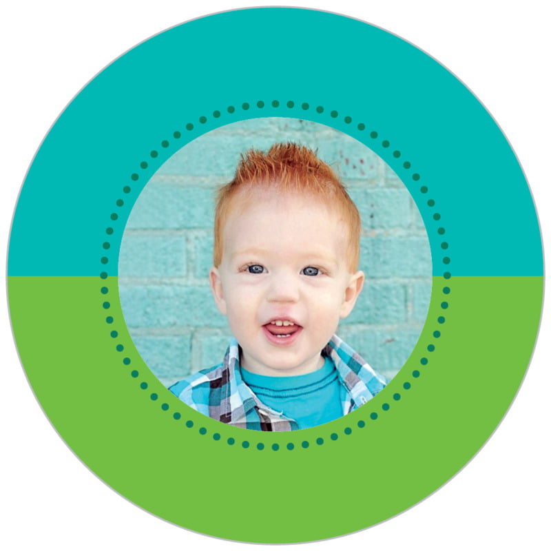 circle photo labels - green - ancho (set of 20)