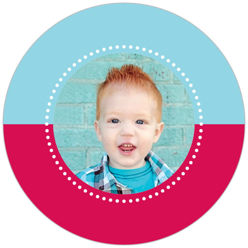 circle photo labels - red - ancho (set of 20)