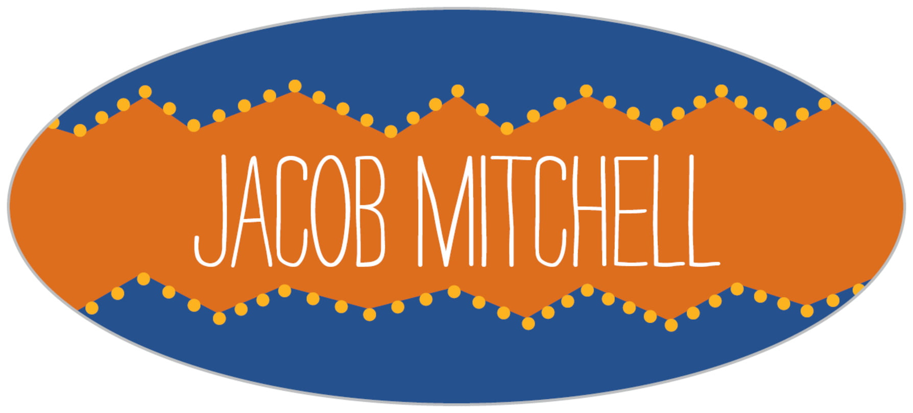 custom oval labels - blue & orange - ancho (set of 30)