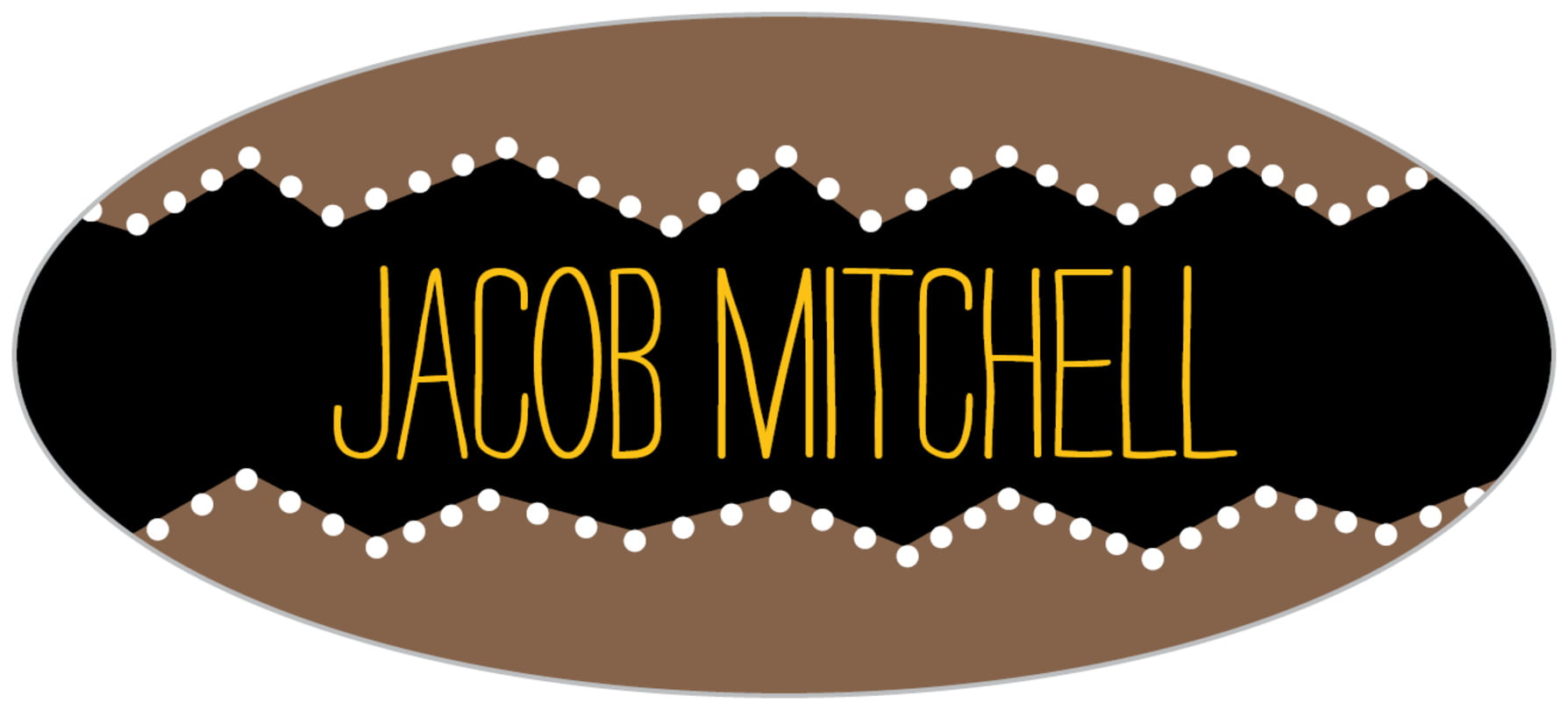 custom oval labels - saddle brown - ancho (set of 30)