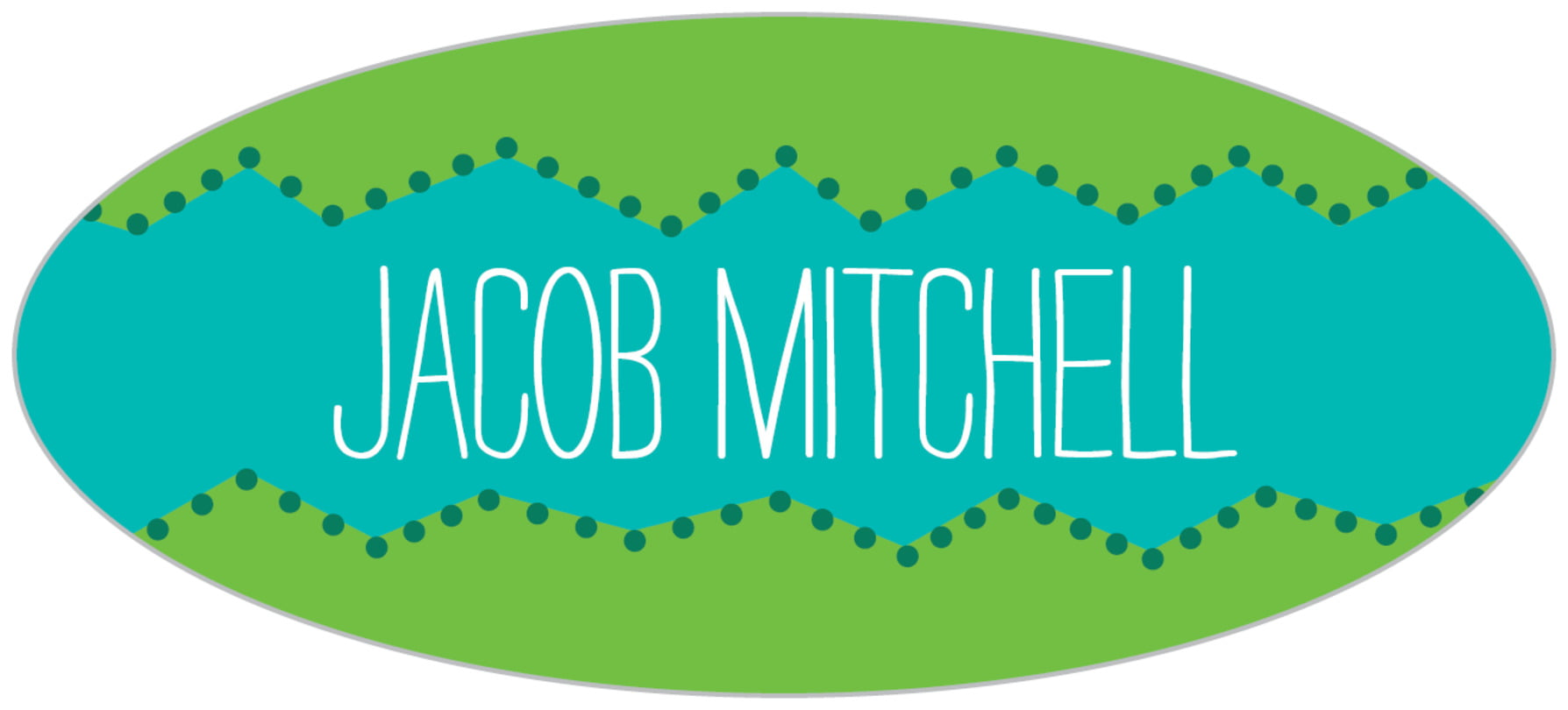 custom oval labels - green - ancho (set of 30)