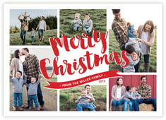 Charming Christmas Photo Cards - Horizontal In Cherry Red