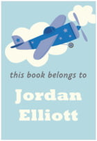 Airplane Rectangle Book Label In Blue