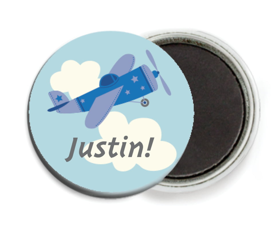 custom button magnets - blue - airplane (set of 6)
