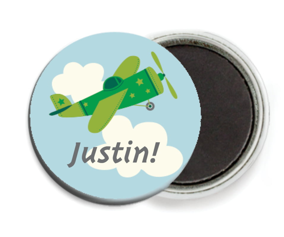 custom button magnets - green - airplane (set of 6)