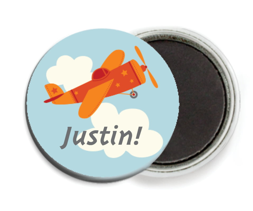 custom button magnets - red - airplane (set of 6)