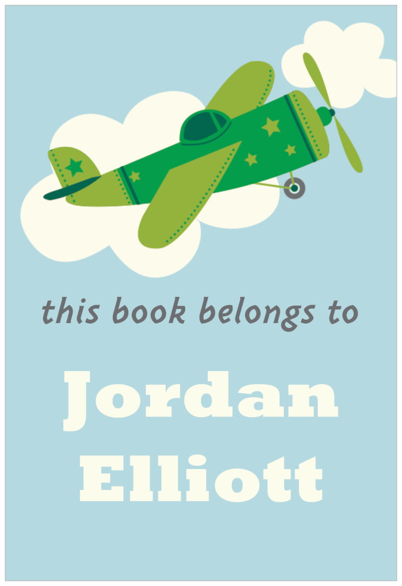 rectangular bookplates - green - airplane (set of 15)