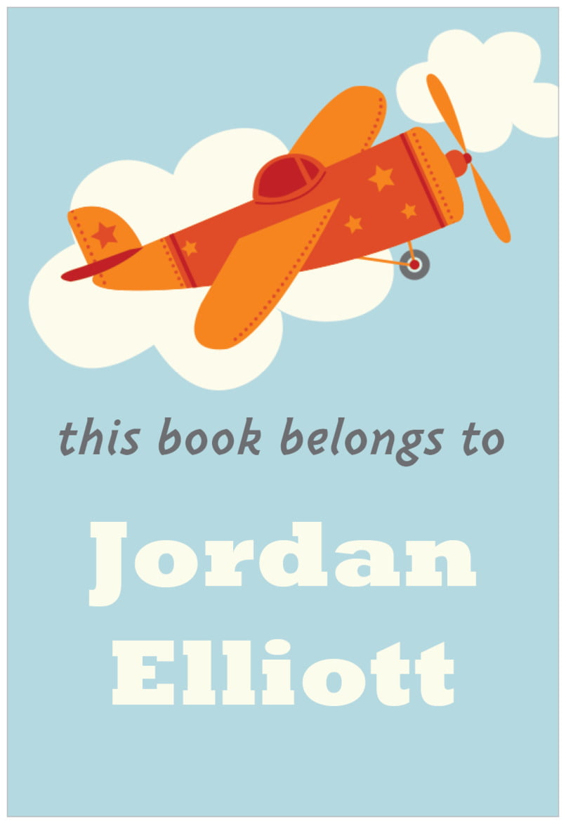 rectangular bookplates - red - airplane (set of 15)