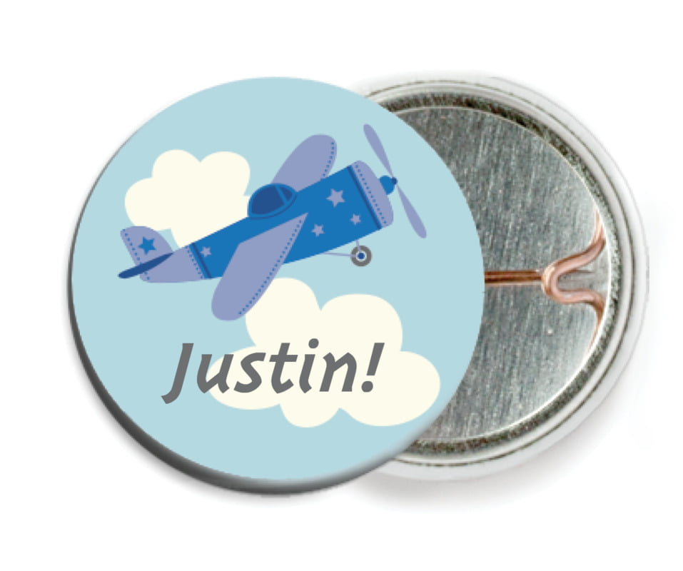 custom pin back buttons - blue - airplane (set of 6)