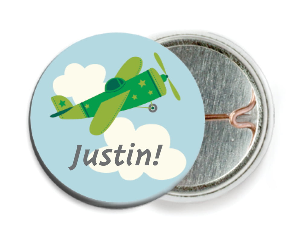 custom pin back buttons - green - airplane (set of 6)
