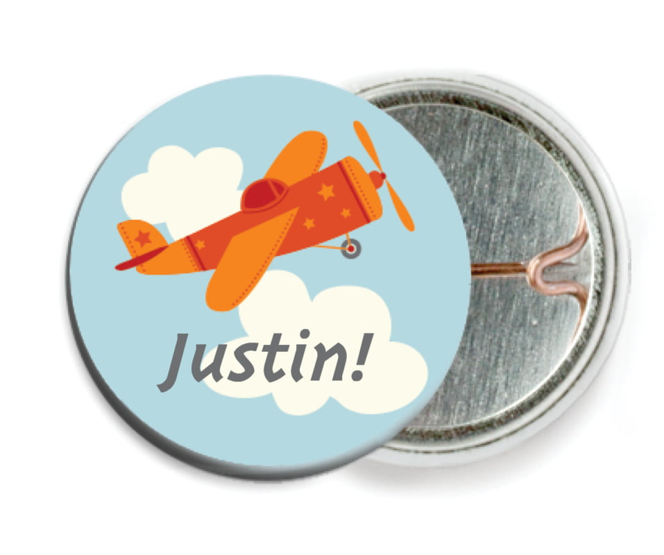 custom pin back buttons - red - airplane (set of 6)