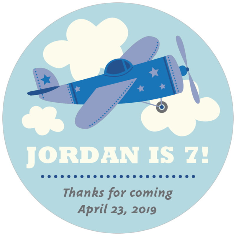 circle food/craft labels - blue - airplane (set of 20)
