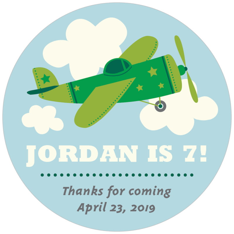 circle food/craft labels - green - airplane (set of 20)