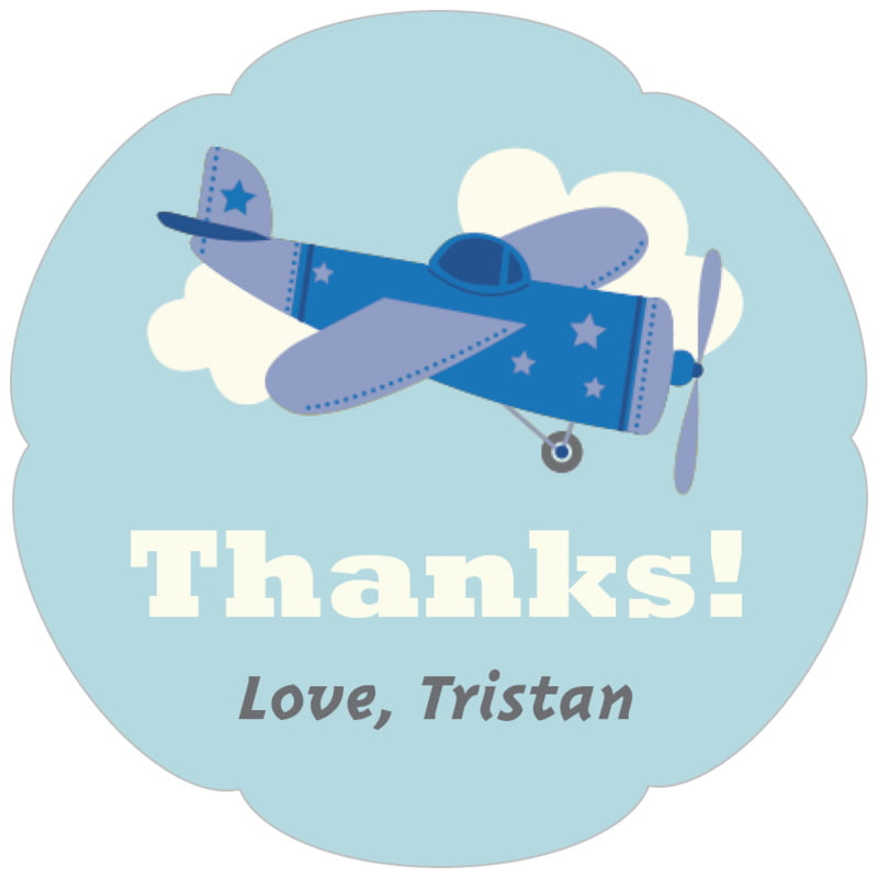 petal food/craft labels - blue - airplane (set of 30)
