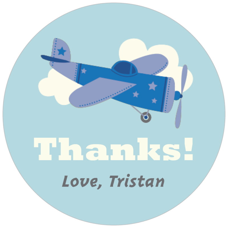 circle food/craft labels - blue - airplane (set of 35)