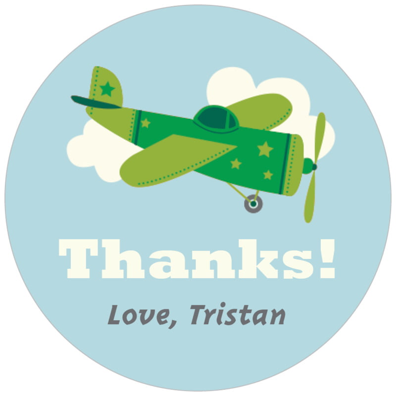 circle food/craft labels - green - airplane (set of 35)