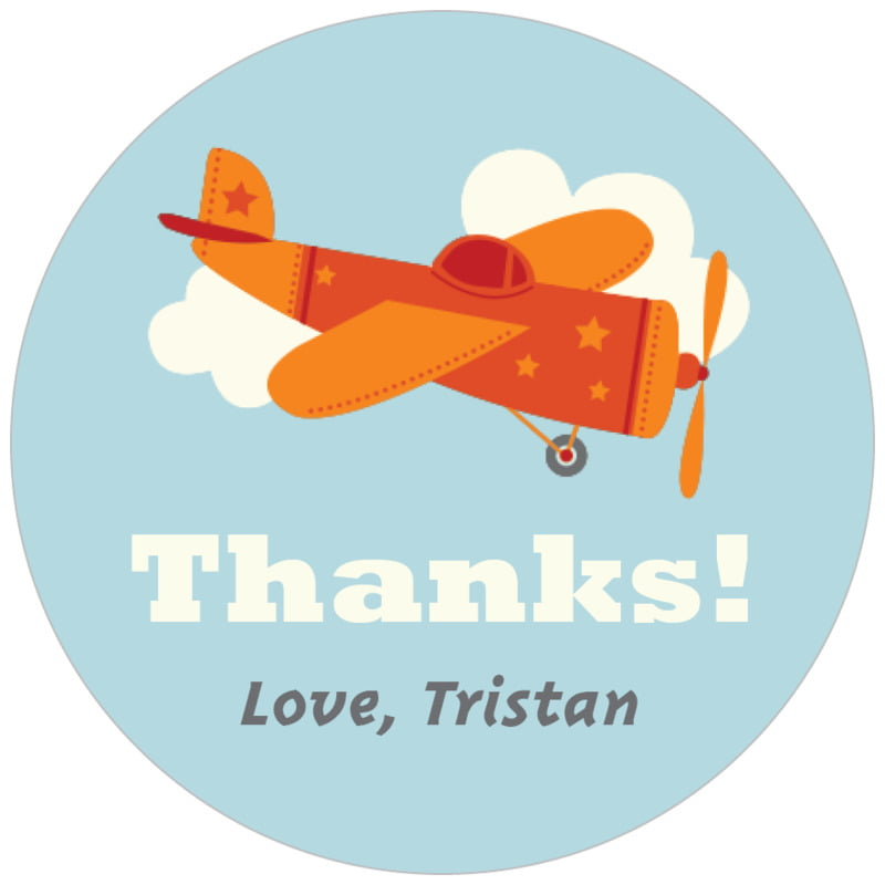 circle food/craft labels - red - airplane (set of 35)