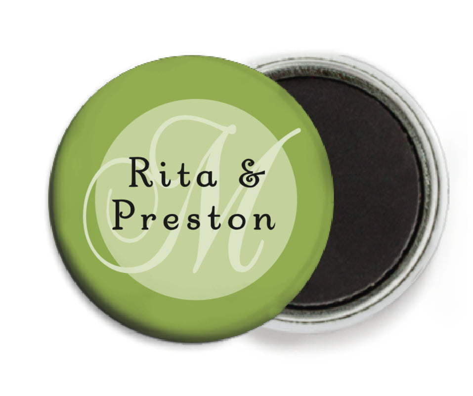 custom button magnets - green tea - astor (set of 6)