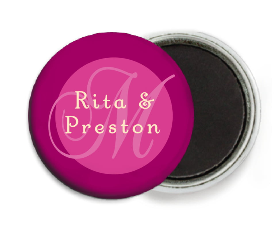 custom button magnets - bright pink - astor (set of 6)
