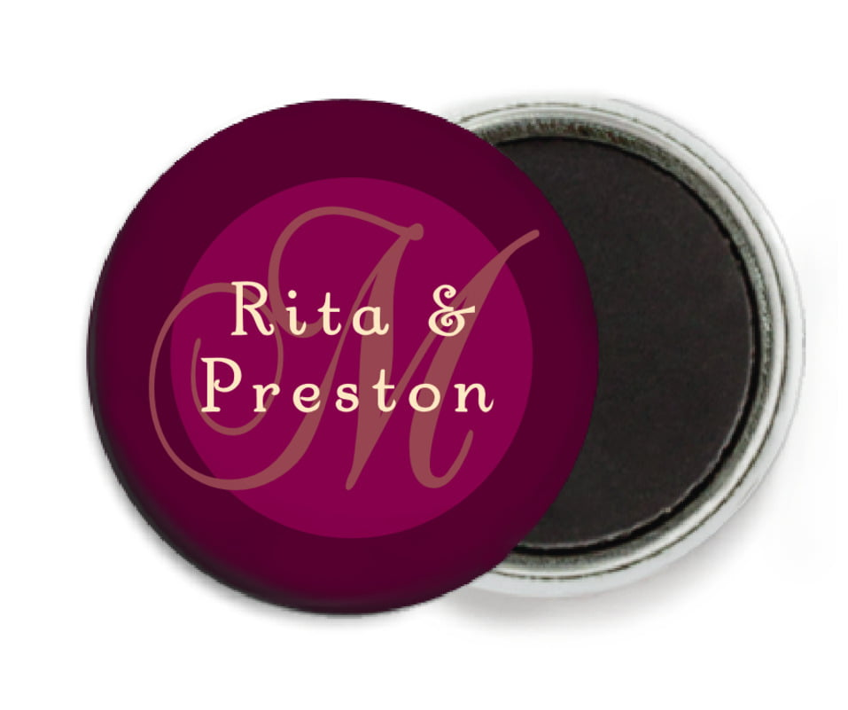 custom button magnets - burgundy - astor (set of 6)