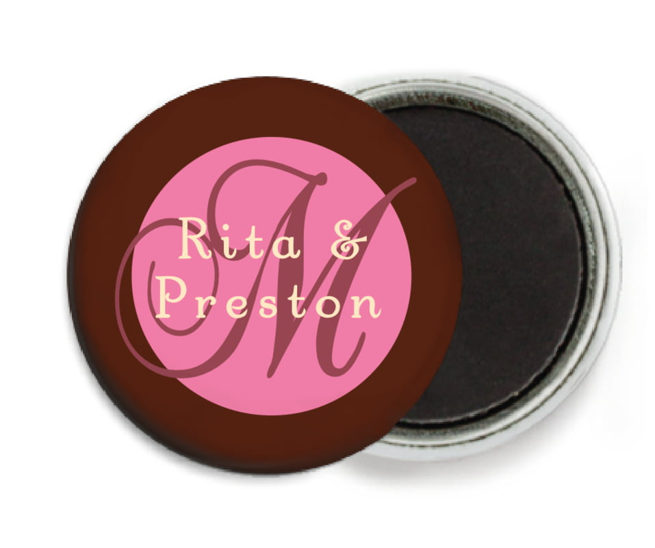 custom button magnets - cocoa & pink - astor (set of 6)