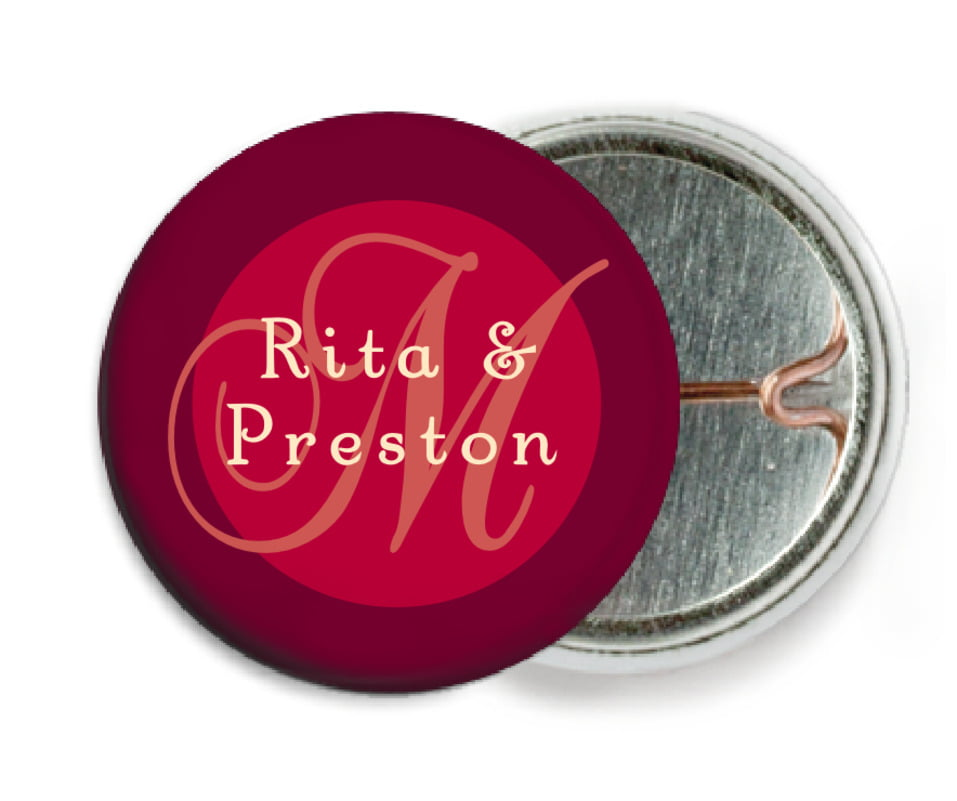 custom pin back buttons - deep red - astor (set of 6)