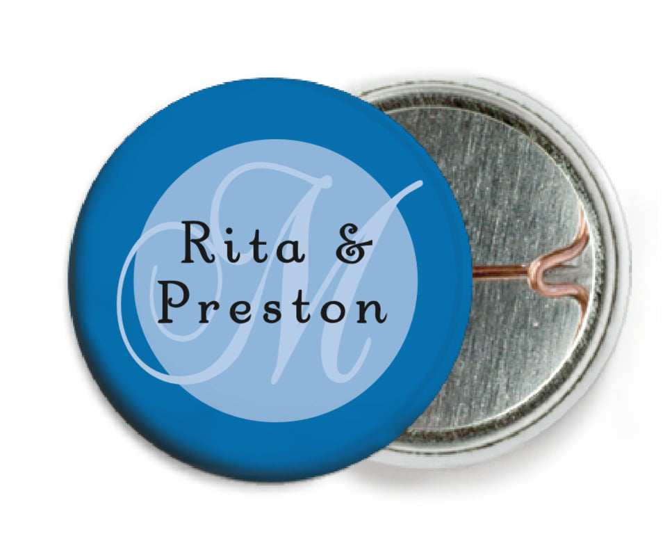 custom pin back buttons - blue - astor (set of 6)