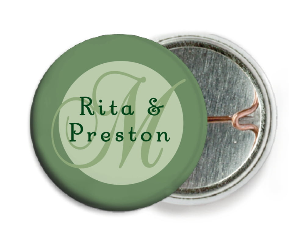 custom pin back buttons - sage - astor (set of 6)