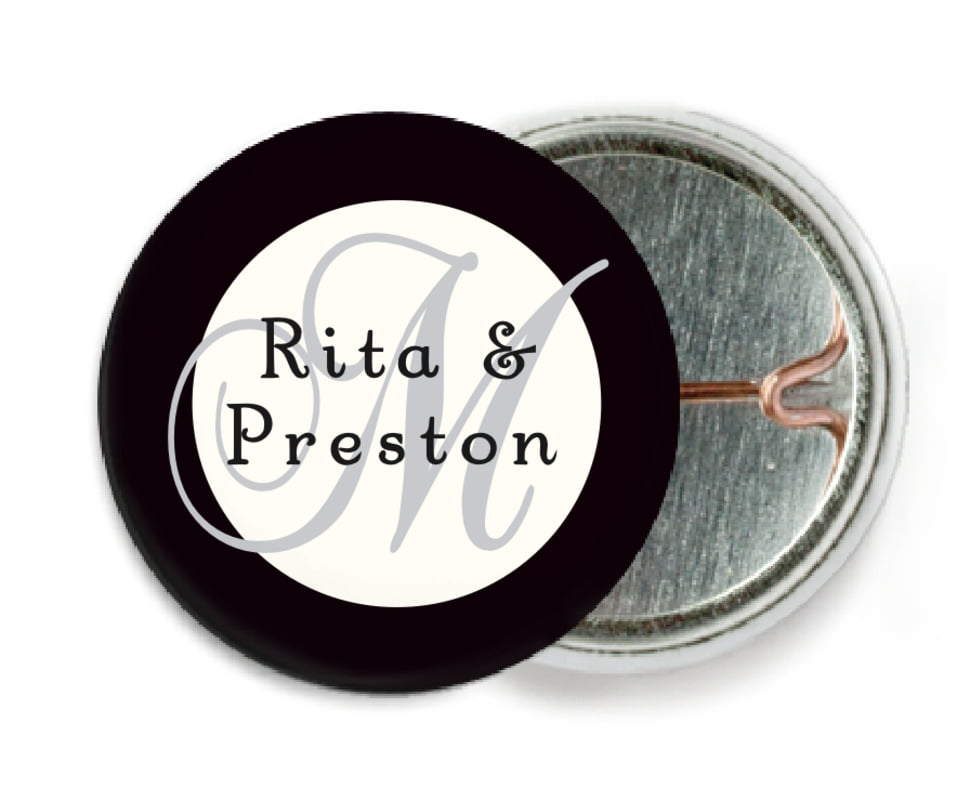 custom pin back buttons - tuxedo - astor (set of 6)