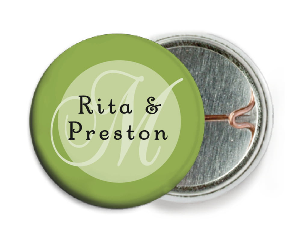custom pin back buttons - green tea - astor (set of 6)